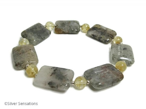 Grey Rutilated Quartz Unisex Beaded Stretchy Bracelet With Sterling Silver